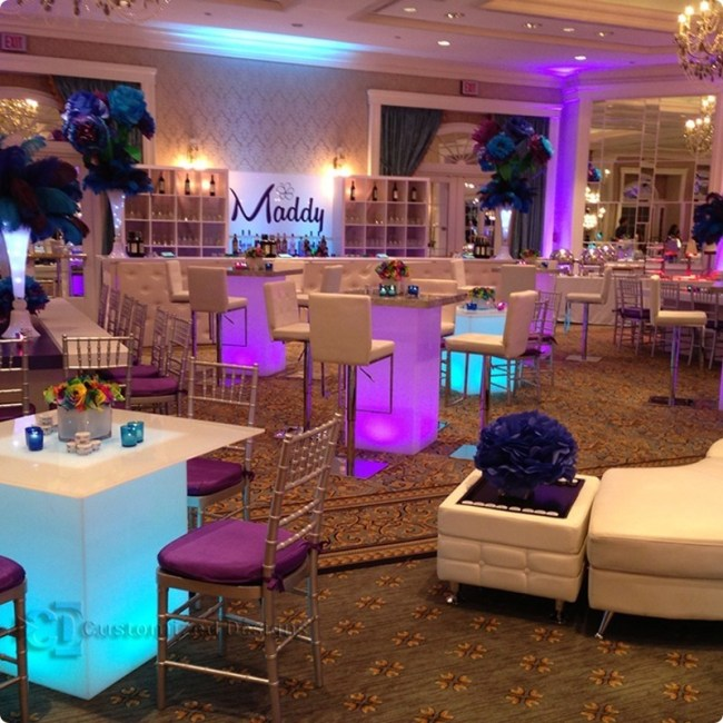 """30x30 Lumen LED Table Shown w/ 42"""" Table Tops"""