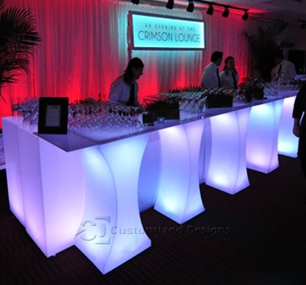 Curve LED Lighted High Boy Tables 3