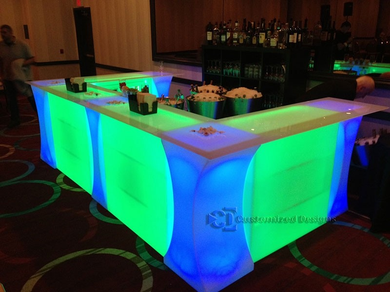 Curve Led Lighted High Boy Cocktail Table Great For