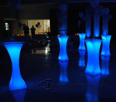 Curve LED Lighted High Boy Tables 7