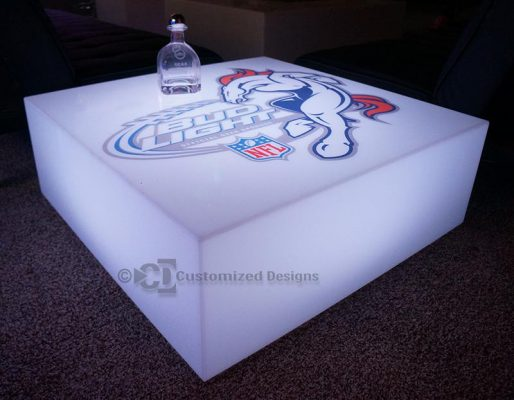 Lumen Lighted Coffee Table w/ Broncos Logo