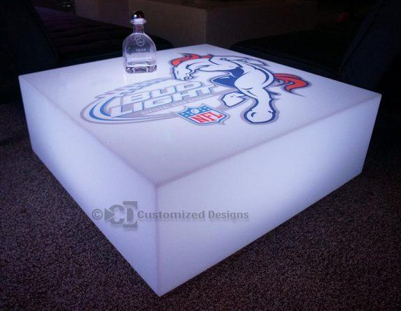 Lumen Lighted Coffee Table w/ Broncos Logo
