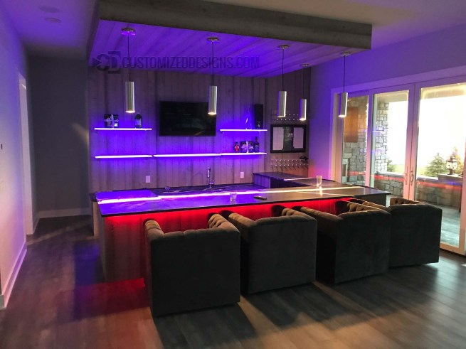 Modern Home Bar with LED Shelves