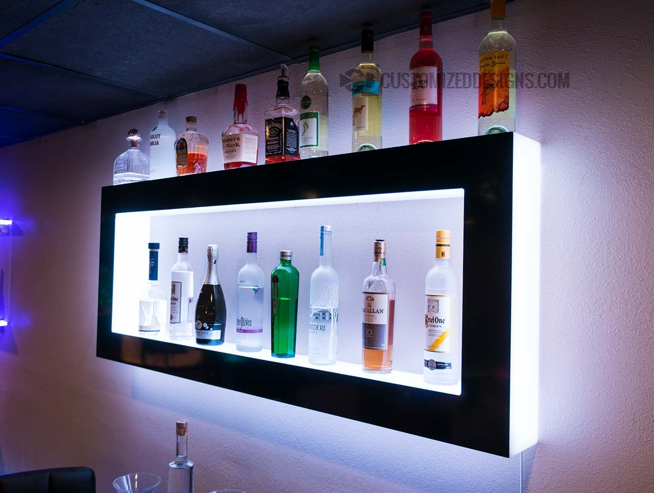Lighted Back Bar Wall Display Shelves