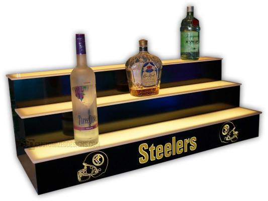 3 Step Back Bar Display w/ Pittsburgh Steeler Logo