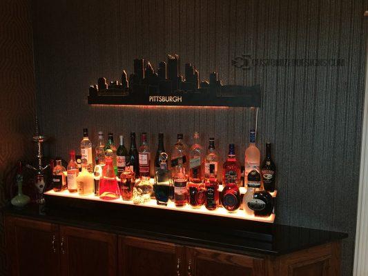 Pittsburgh, PA Skyline Art Home Bar