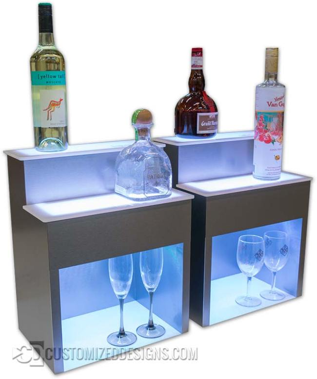 "2 Tier Raised Liquor Display w/ Stainless Finish - 8"" Storage Height"