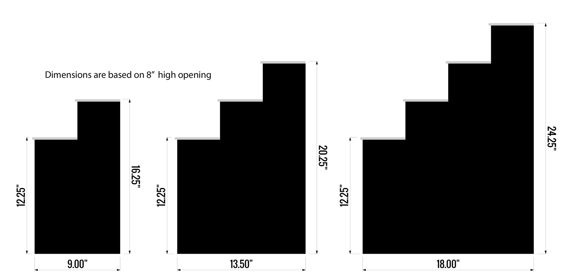 "Raised Liquor Display Dimensions - Based on 8"" Storage Height"