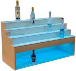 Raised Liquor Shelves w/ 10 inch High Storage for Glasses