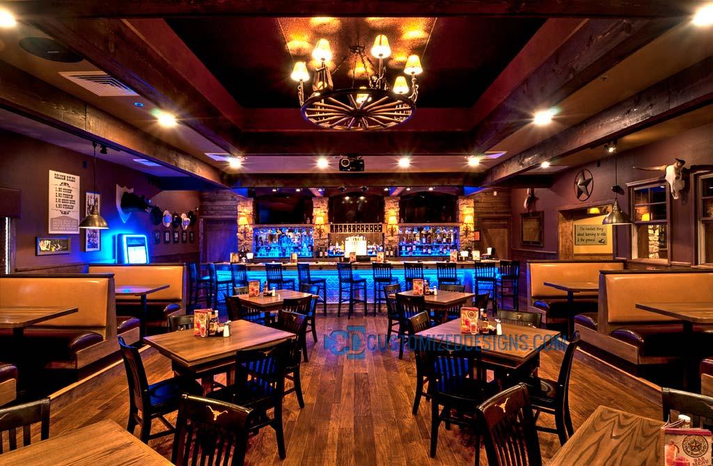 Steakhouse Restaurant LED Bar Lighting & Shelving