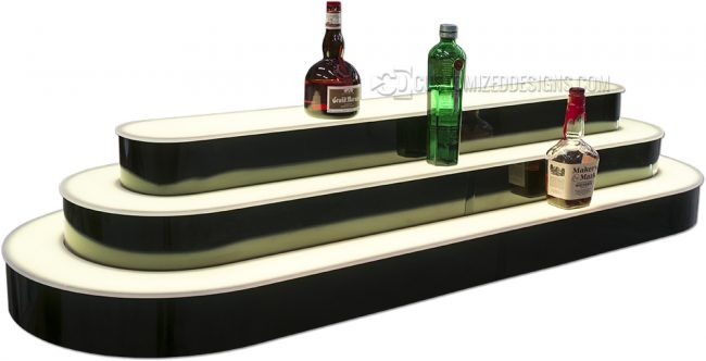 Custom Rounded 3 Tier Island Liquor Display