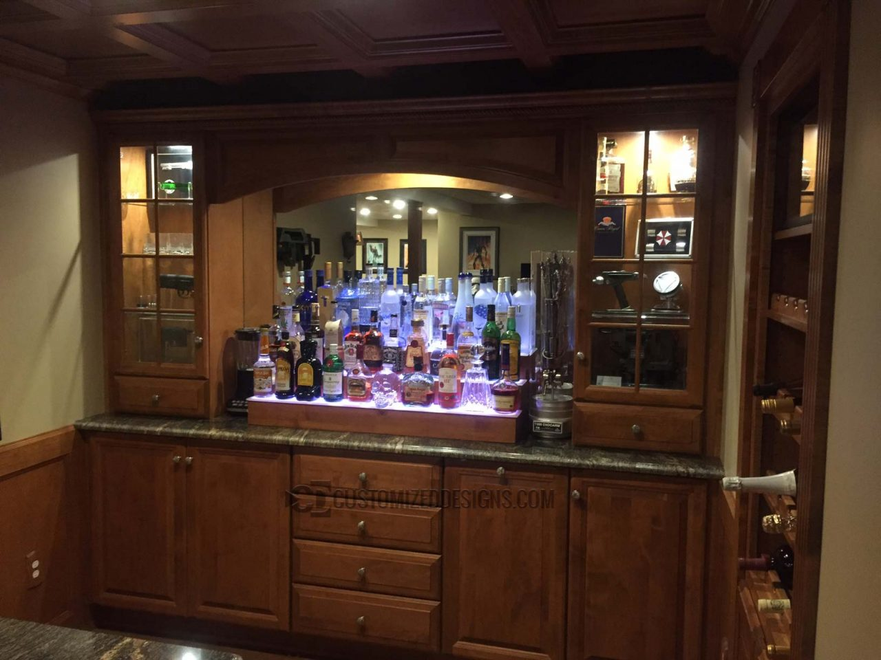 Cool Sci-Fi Themed Home Bar w/ Cherry Wood Shelves