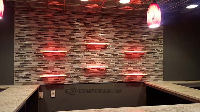Home Bar LED Shelving - Tile Back Splash