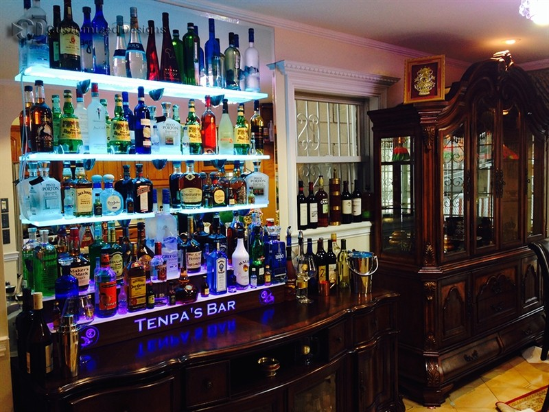 Home Bar LED Shelving & Liquor Display Tiers w/ Lighted Logo