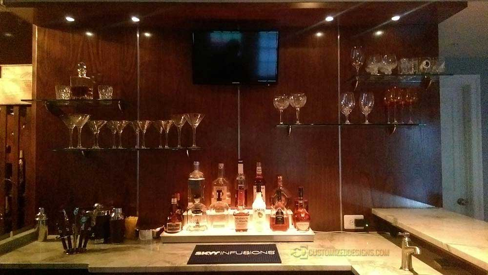 Home Bar w/ Custom 2 Tier Low Profile Wrap Liquor Display