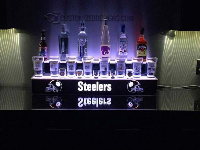 STEELERS THEME 2 TIER LIQUOR DISPLAY