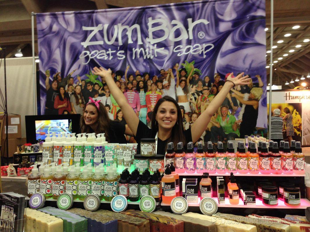 Fun Picture Of One Of Our Customers, Zum Bar, Using A Couple Of Our Two-Step Low Profile Shelves To Display Their Soap At Trade Shows And Conventions.