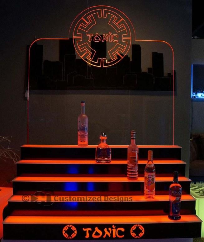 5 Tier LED Lighted Back Bar Shelving 9