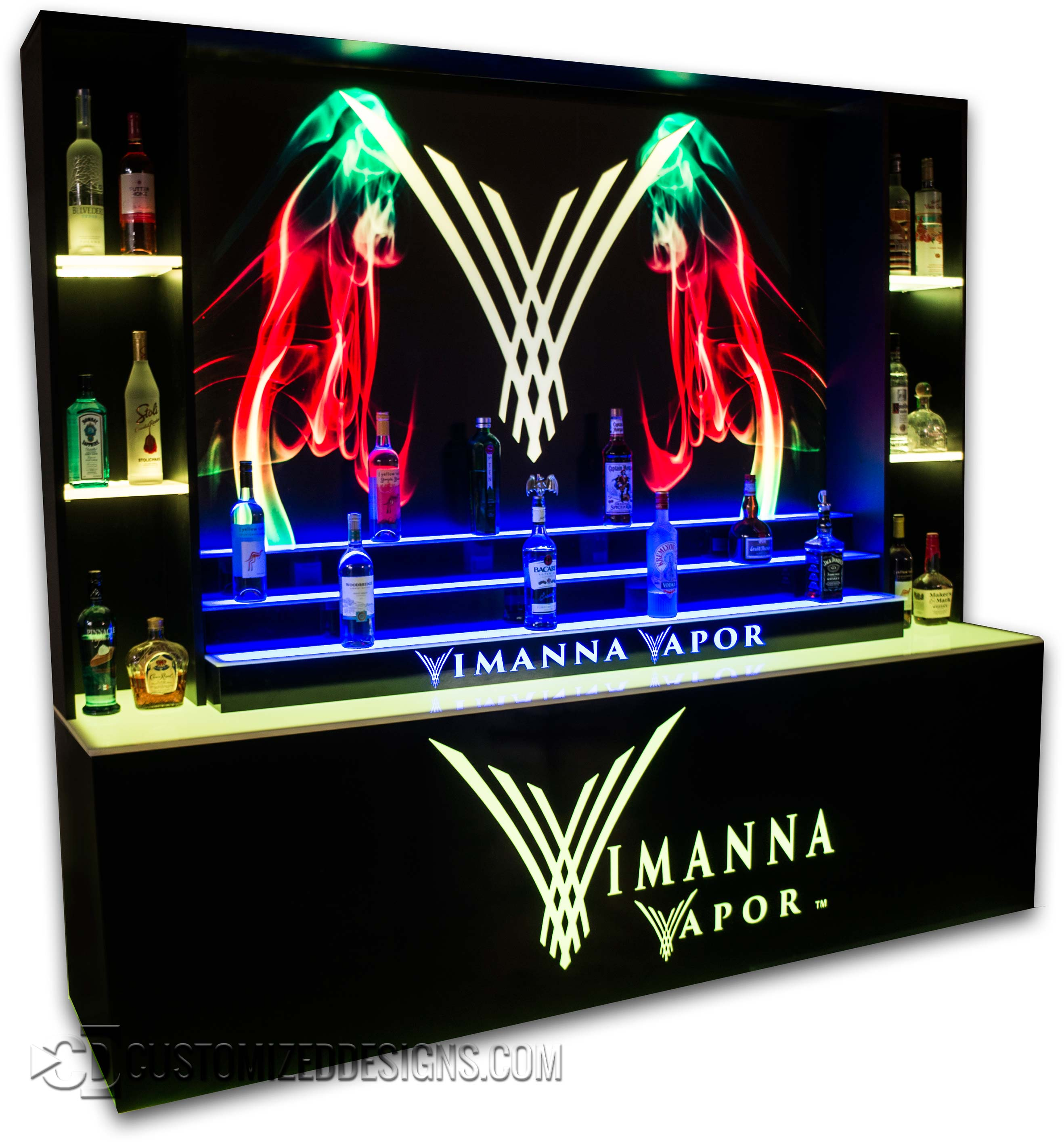 Custom LED Back Bar Display for Vape Store