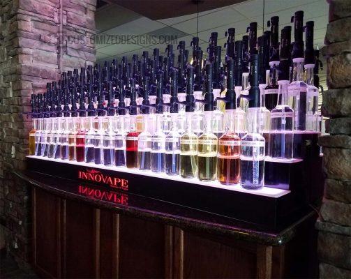 3 Tier Bottle Display W/ Full-Color Logo For A Vape Store & Bar