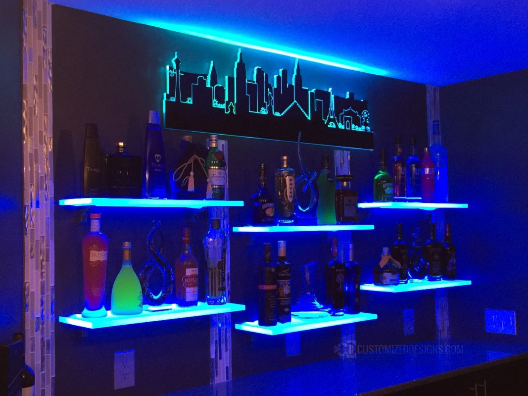 Home Bar Shelving - Las Vegas Skyline