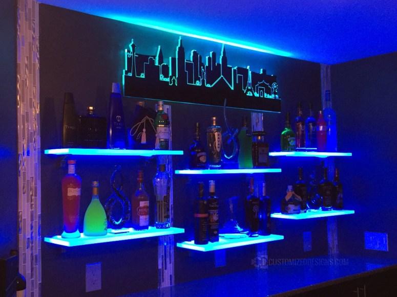 Home Bar Shelving - Las Vegas Skyline