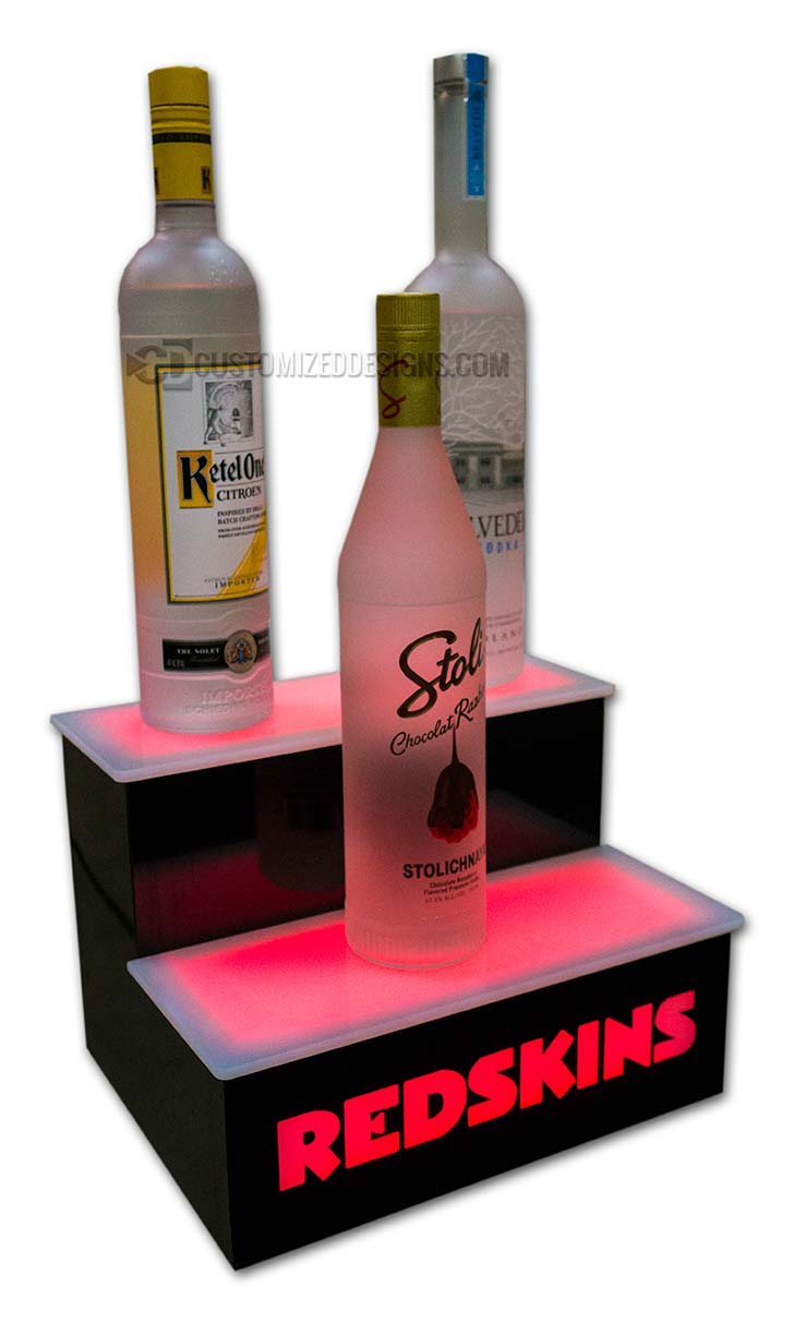2 Tier Lighted Bottle Display w/ Washington Redskins Logo