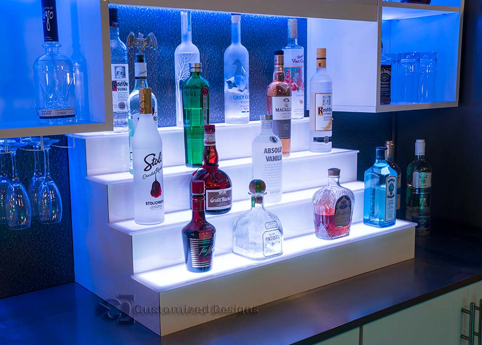 4 Tier LED Lighted Liquor Shelf with White Finish