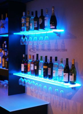 LED Floating Shelves w/ Wine Glass Rack