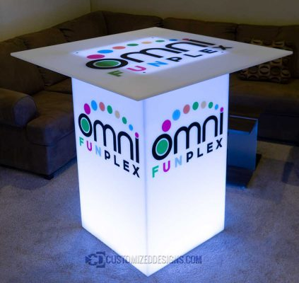 "24"" x 24"" x 42"" Lumen LED Lighted Highboy Table w/ 48"" Table Top"
