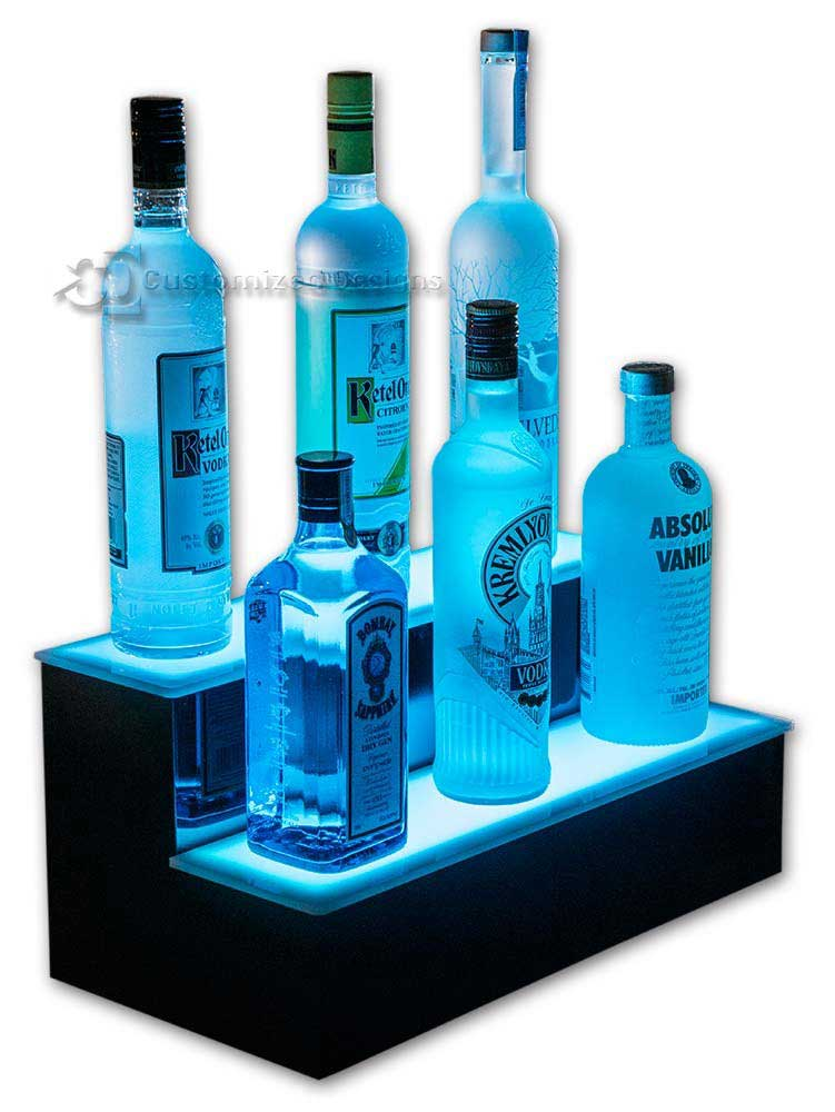 2 Tier Lighted Home Bar Shelving - Cyan Lighting
