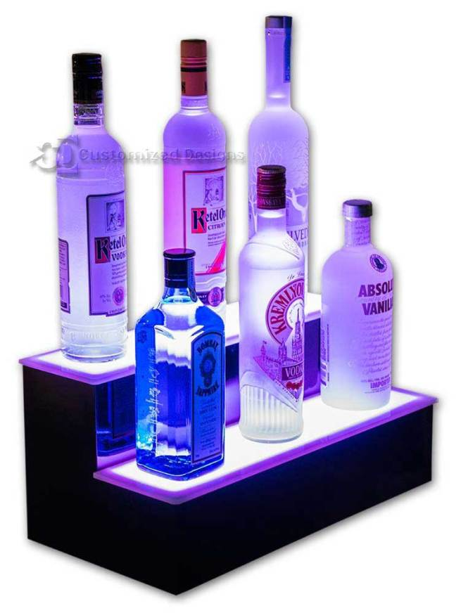 2 Tier Lighted Home Bar Shelving - Purple Lighting