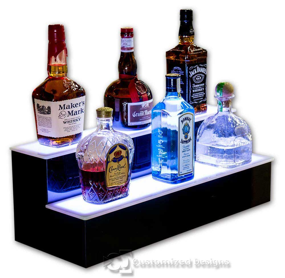 2 Tier Liquor Bottle Display White Lighting