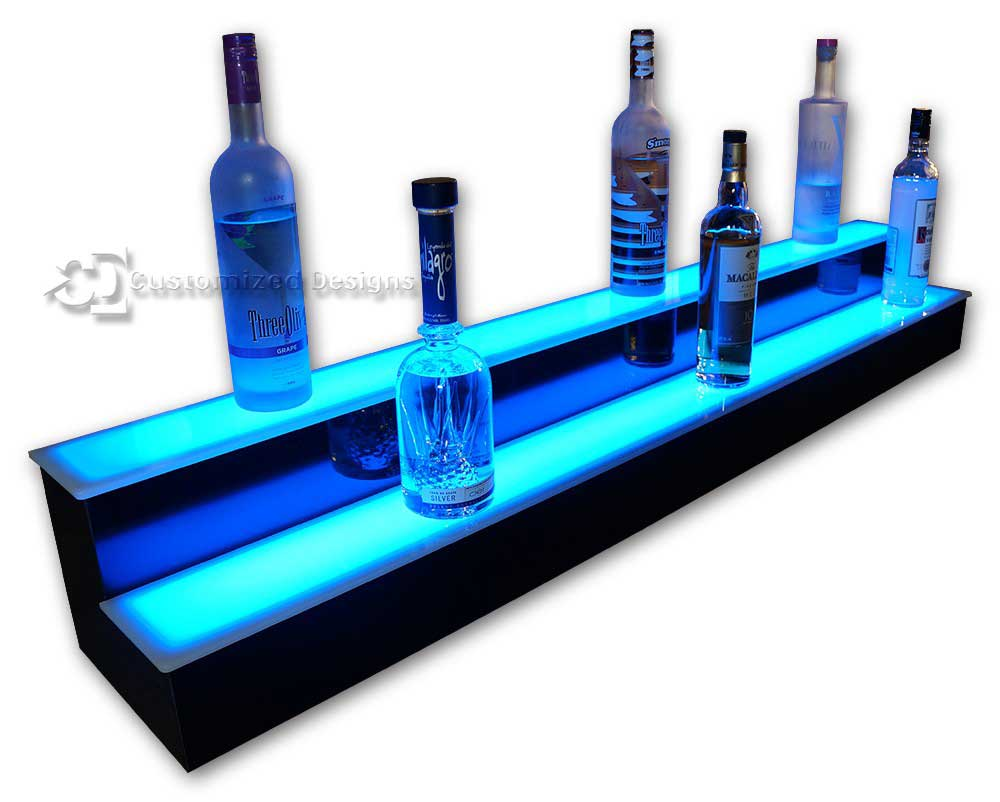 2 Tier Liquor Display with Blue Lighting