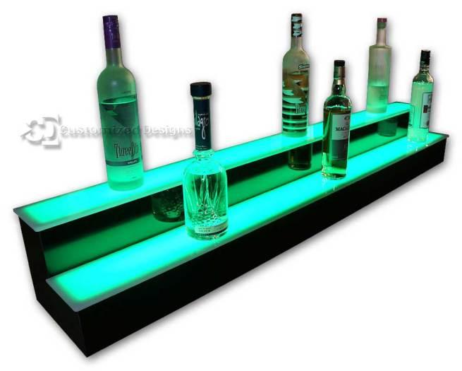 2 Tier Liquor Display with Green Lighting