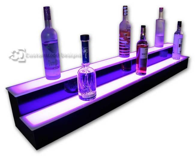 2 Tier Liquor Display with Pink Lighting
