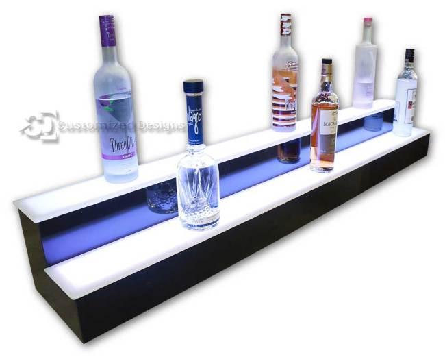 2 Tier Liquor Display with White Lighting