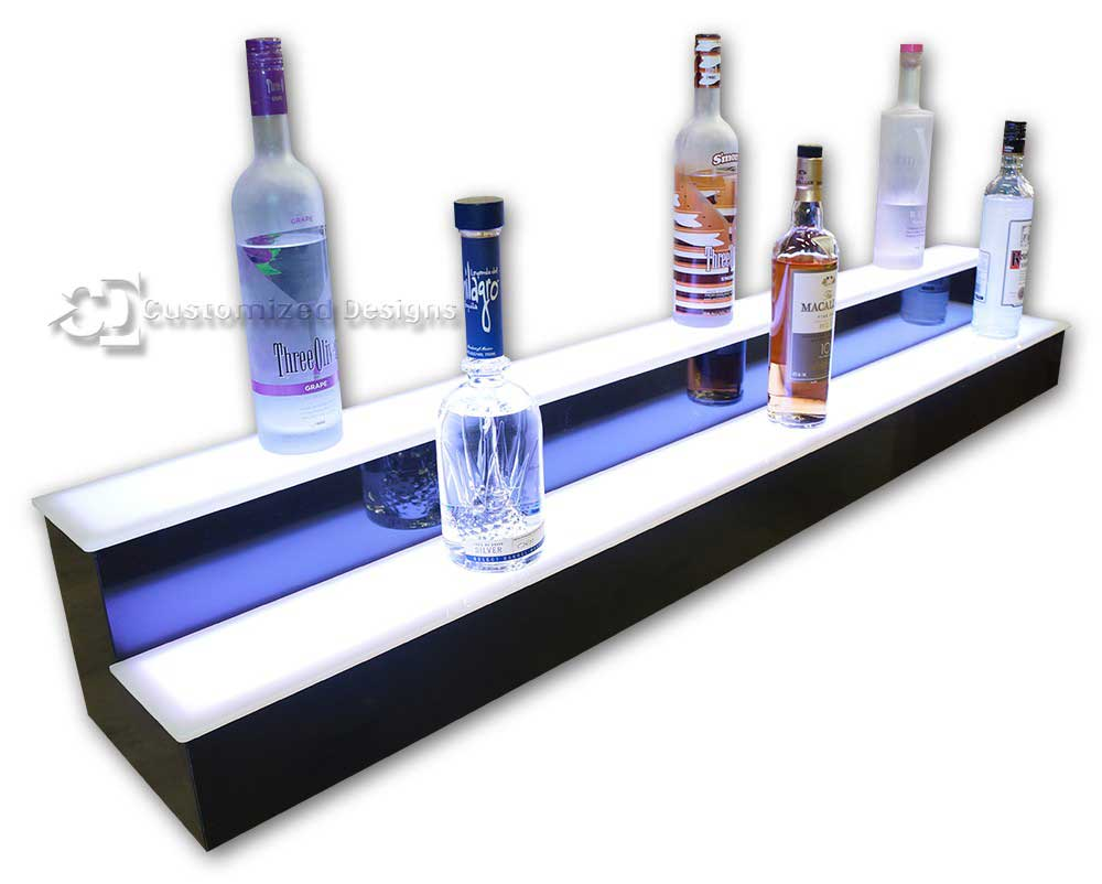 2 Tier Liquor Display with White Lighting
