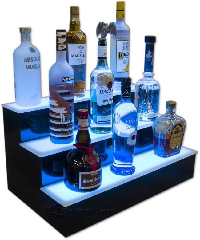 3 Tier Liquor Display w/ Blue Lighting