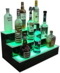 3 Tier Liquor Display w/ Green Lighting