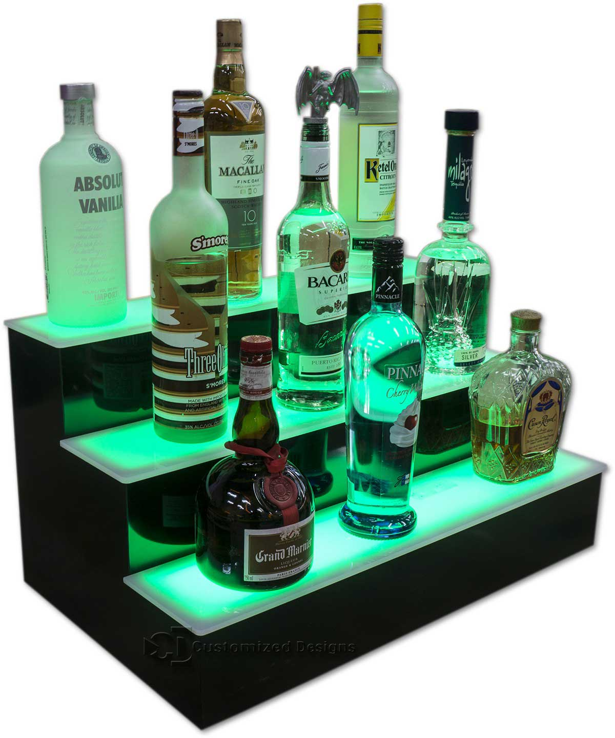 3 Tier Liquor Display w/ Green Lighting