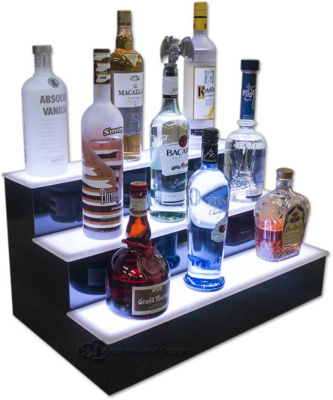 3 Tier Liquor Display w/ White Lighting