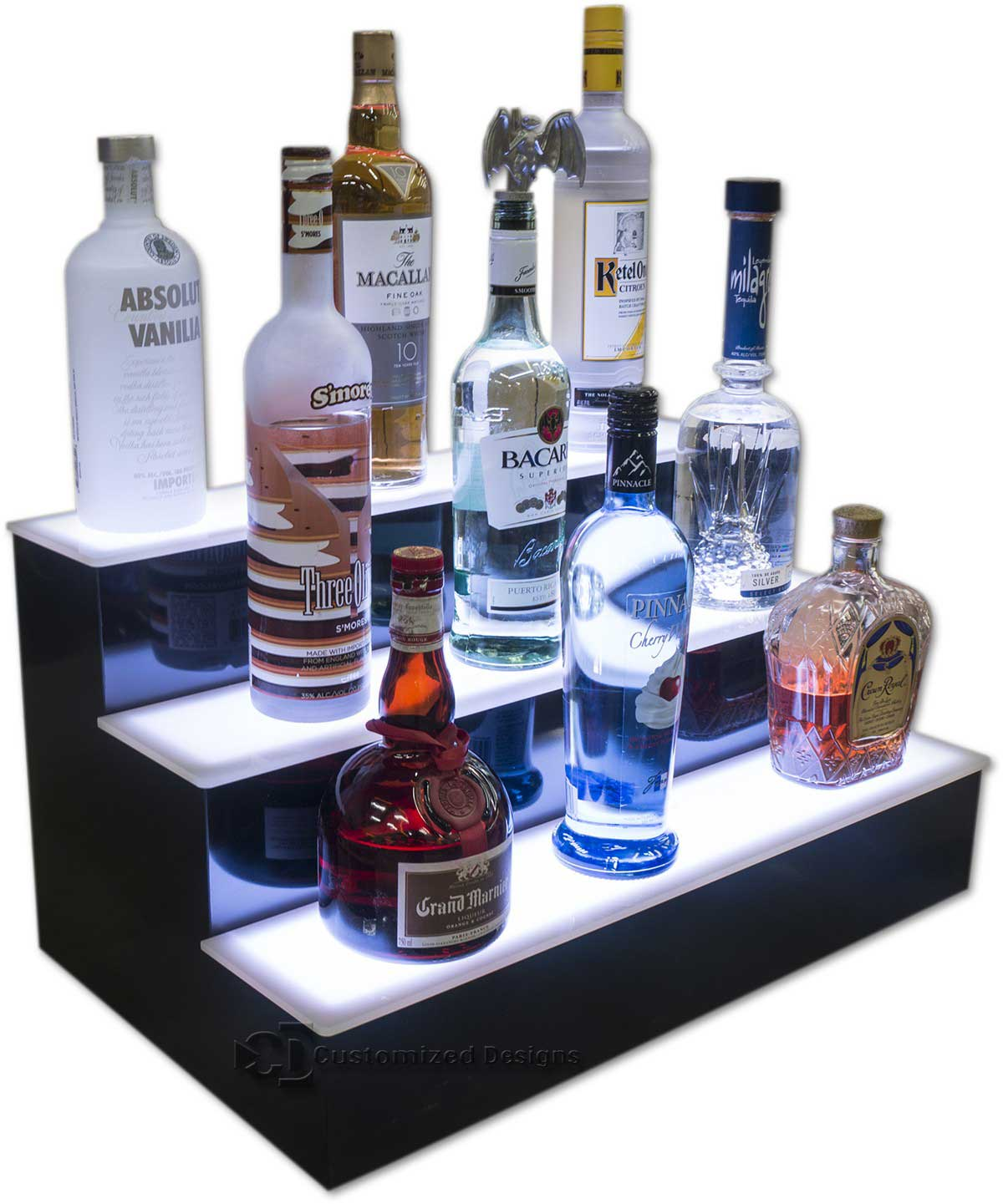 3 Tier Liquor Display w/ White Lighting