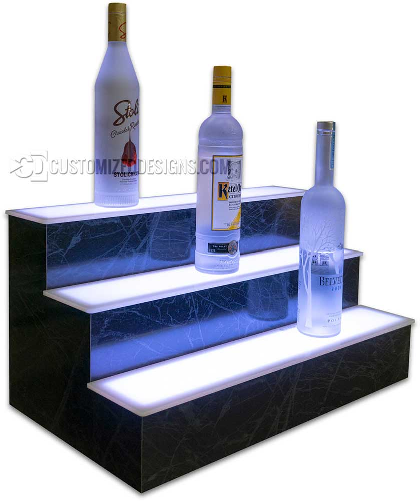 3 Tier LED Liquor Shelves Arctic Flash Stone Finish