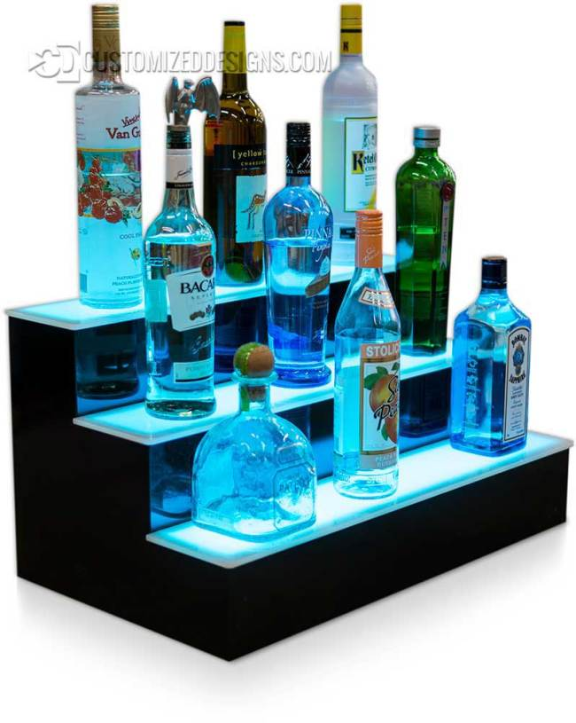 3 Tier LED Lighted Liquor Shelves