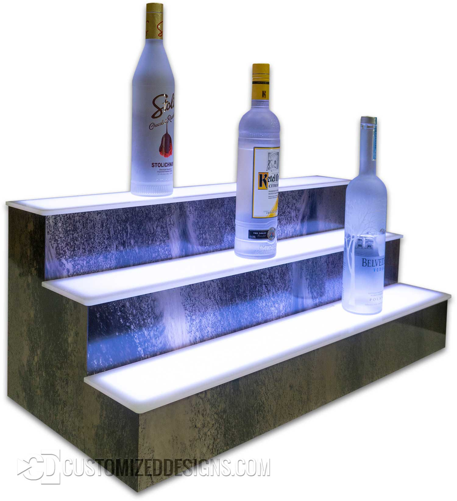 3 Tier Lighted Bar Shelving Monet Finish