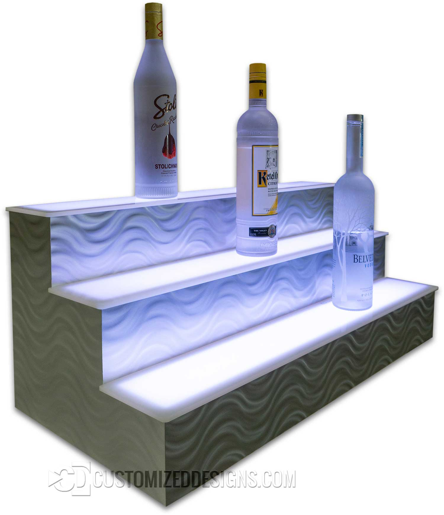 3 Tier LED Liquor Display Serpentine Finish