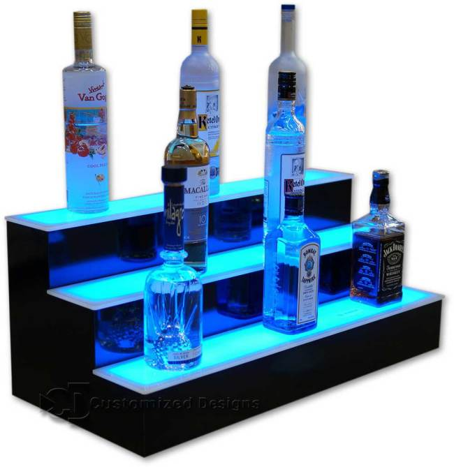 3 Tier LED Lighted Back Bar Shelving