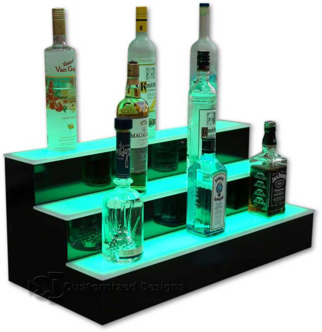 3 Tier Liquor Bottle Display with Green LED Lighting