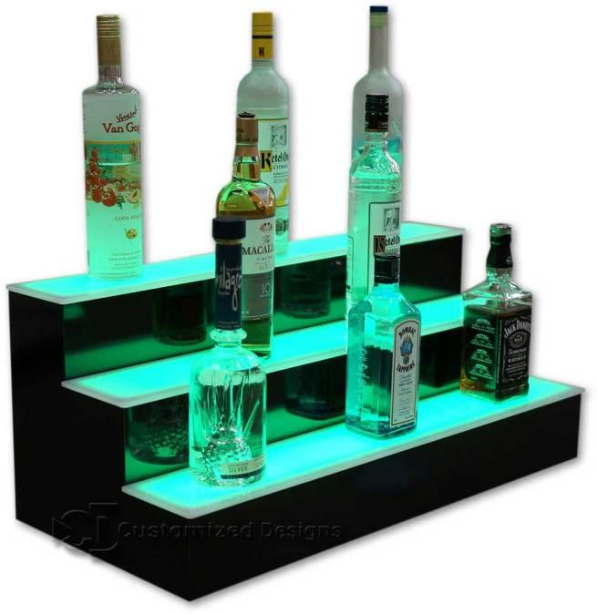 3 Tier Liquor Bottle Display with Green LED Lighting
